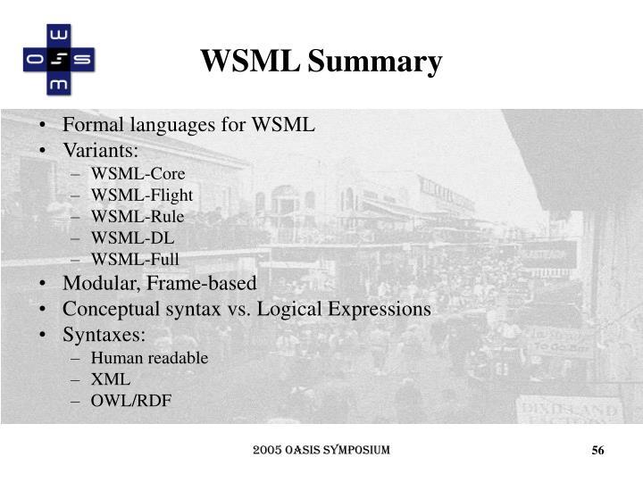 WSML Summary