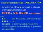numery referencyjne dokument w