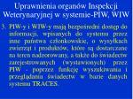 uprawnienia organ w inspekcji weterynaryjnej w systemie piw wiw1