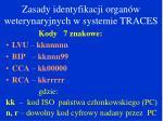 zasady identyfikacji organ w weterynaryjnych w systemie traces