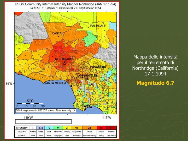 Mappa delle intensità per il terremoto di Northridge (California) 17-1-1994