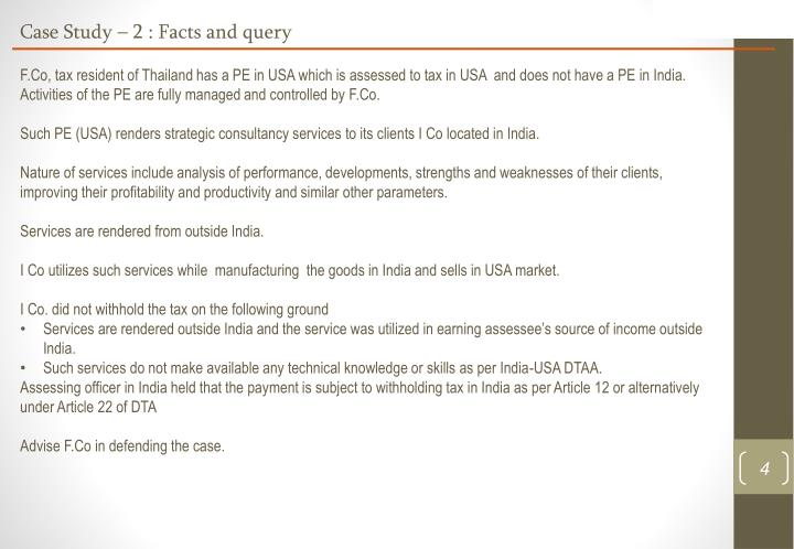Case Study – 2 : Facts and query