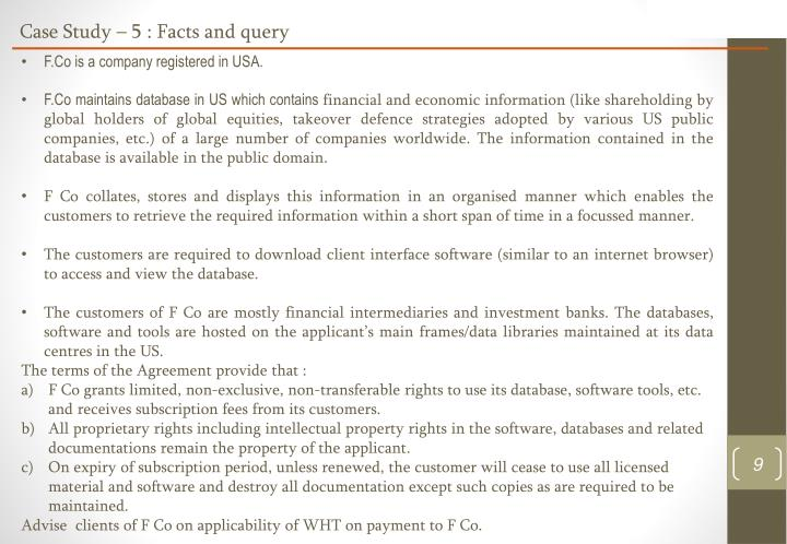 Case Study – 5 : Facts and query