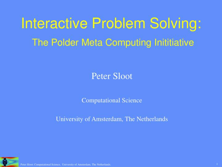 interactive problem solving the polder meta computing inititiative n.