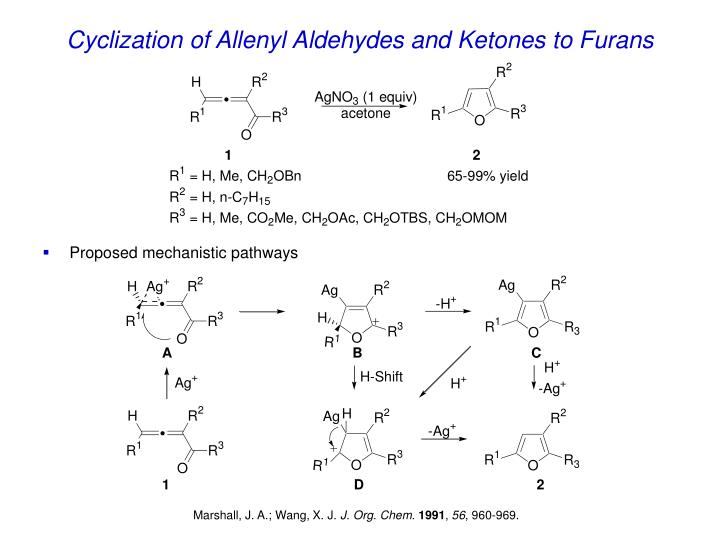 Cyclization of Allenyl Aldehydes and Ketones to Furans