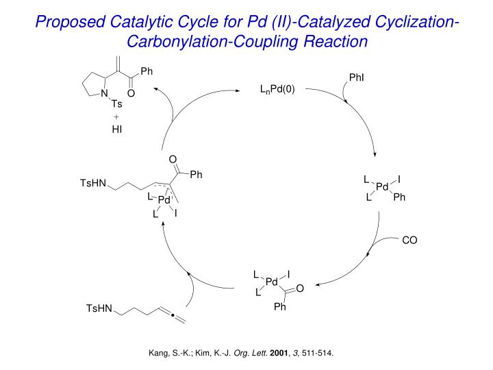 Proposed Catalytic Cycle for Pd (II)-Catalyzed Cyclization-Carbonylation-Coupling Reaction