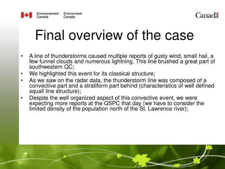 Final overview of the case