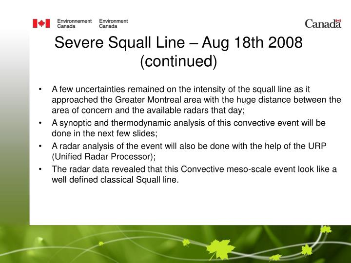 Severe Squall Line – Aug 18th 2008 (continued)