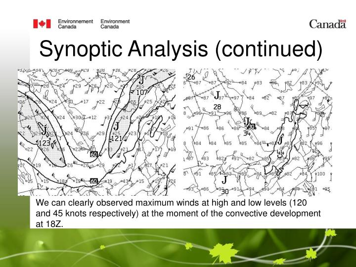 Synoptic Analysis (continued)