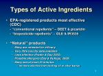 types of active ingredients