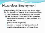 hazardous employment
