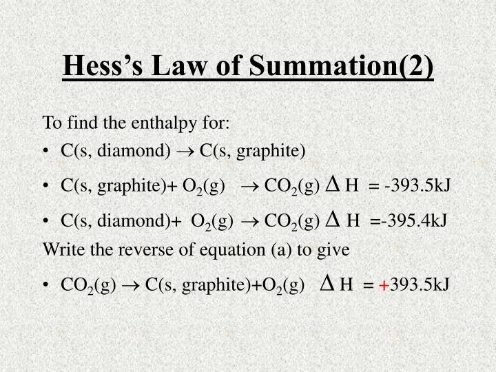 Hess's Law of Summation(2)