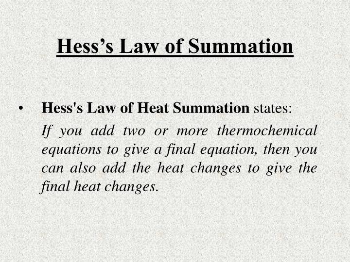 Hess's Law of Summation