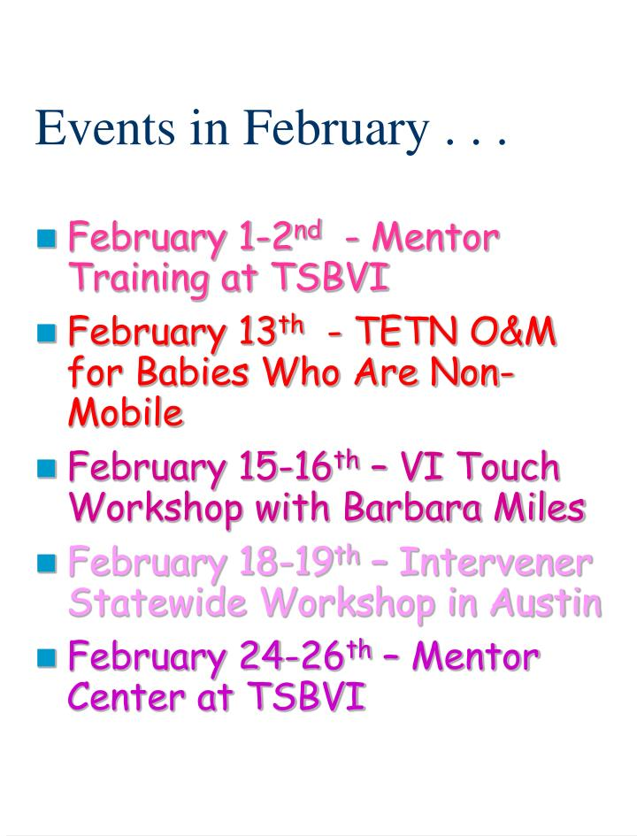 Events in february