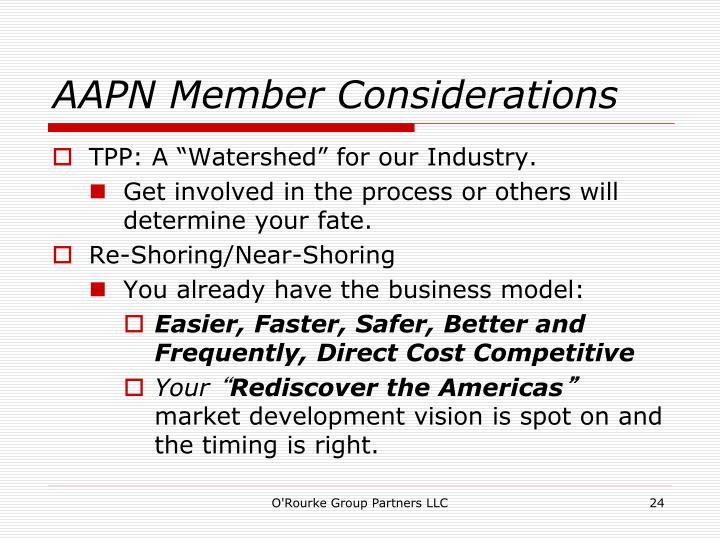 AAPN Member Considerations