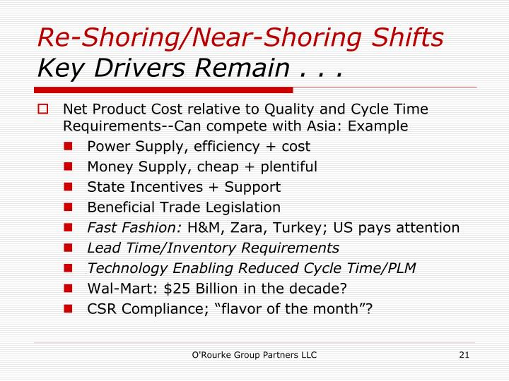 Re-Shoring/Near-Shoring Shifts