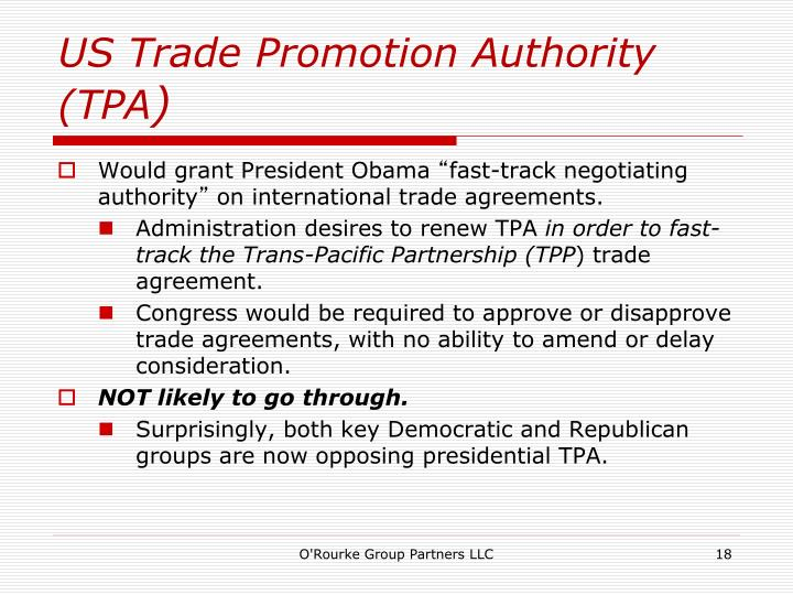 US Trade Promotion Authority (TPA