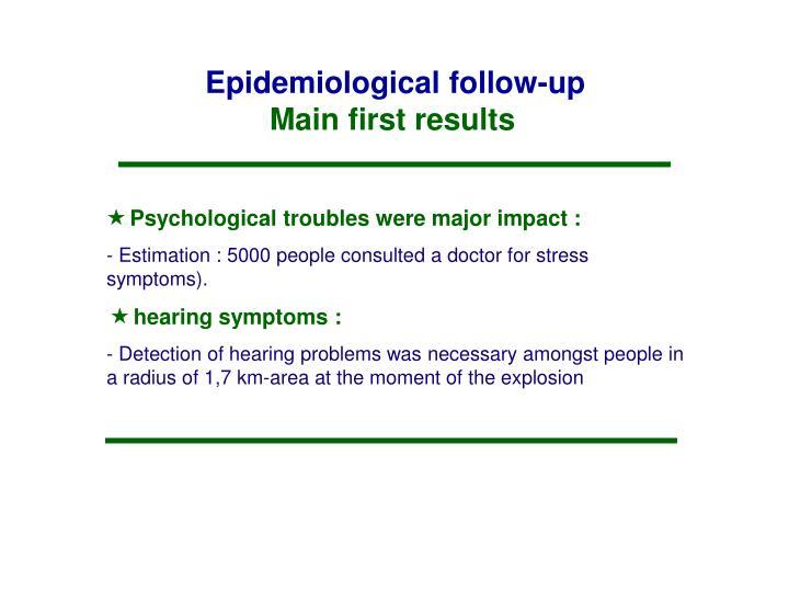 Epidemiological follow-up