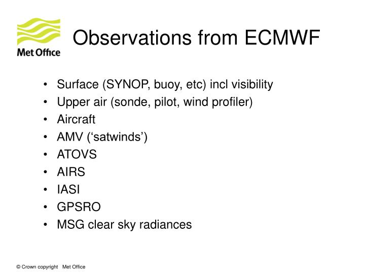 Observations from ECMWF