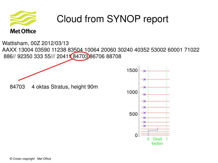 Cloud from SYNOP report
