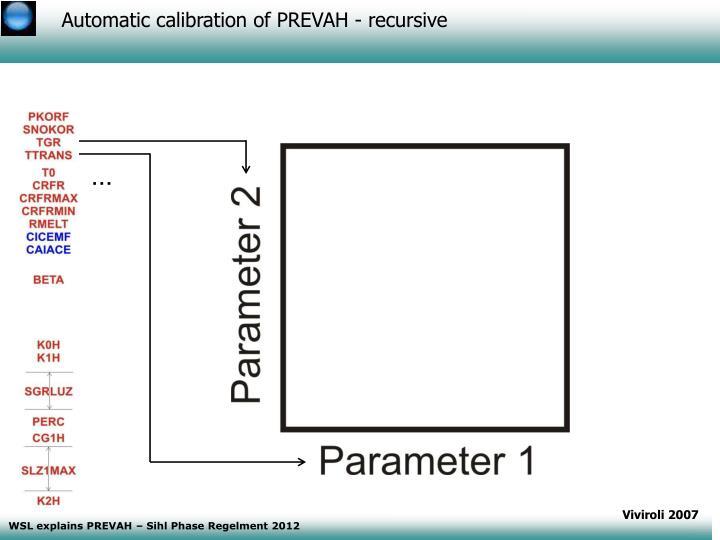 Automatic calibration of PREVAH - recursive