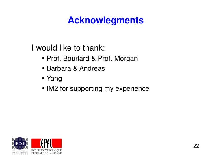 Acknowlegments