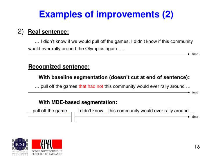 Examples of improvements (2)