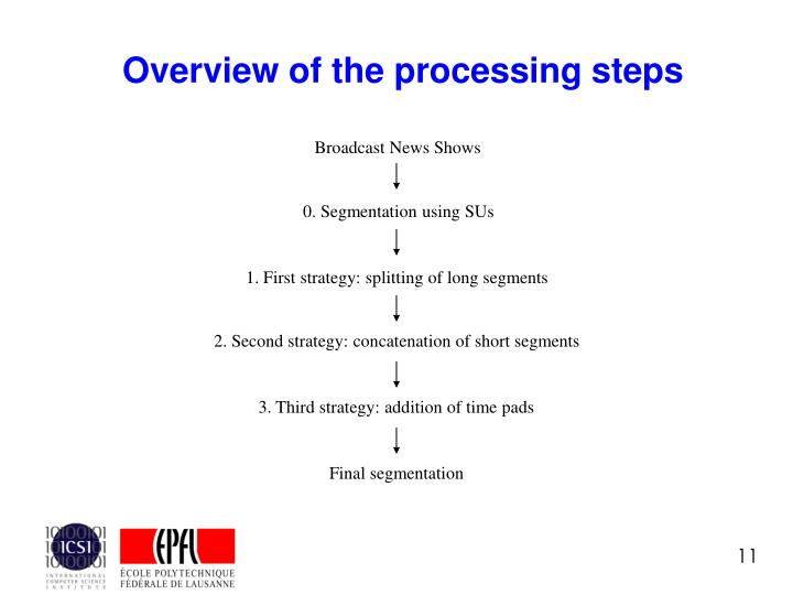 Overview of the processing steps