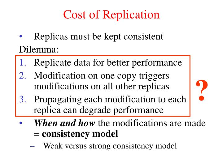 Cost of Replication