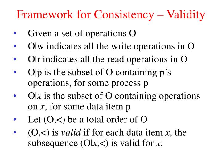 Framework for Consistency – Validity