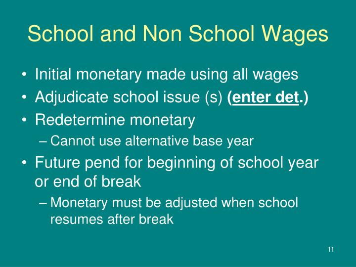 School and Non School Wages
