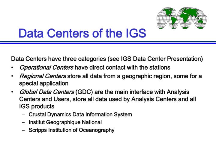 Data Centers of the IGS