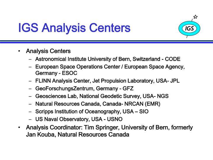 IGS Analysis Centers
