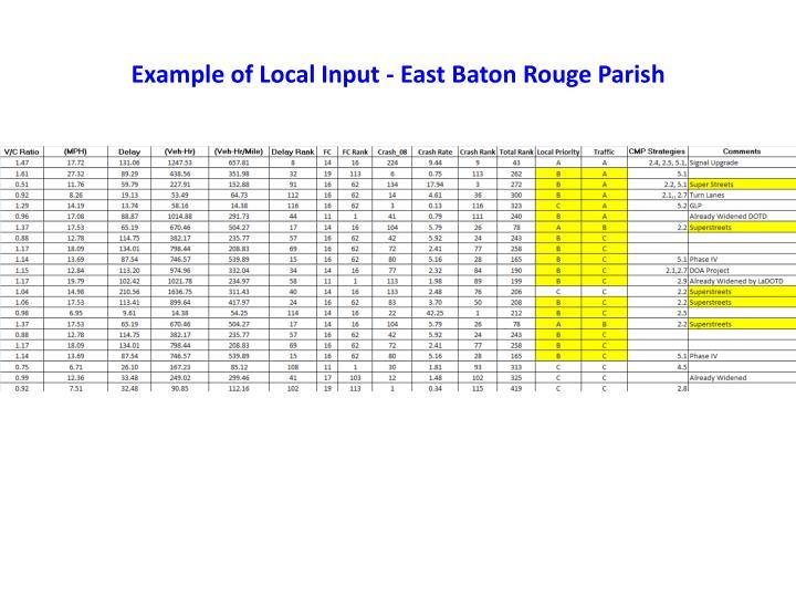 Example of Local Input - East Baton Rouge Parish