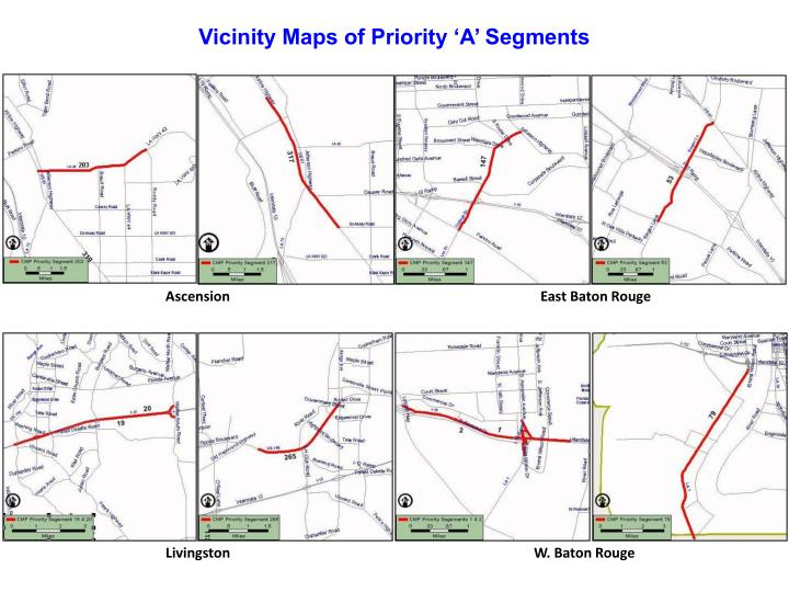 Vicinity Maps of Priority 'A' Segments