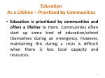 education as a lifeline priortized by communities