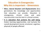 education in emergencies why this is important dimensions