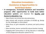 education innovations assistance opportunities to build back better