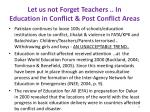 let us not forget teachers in education in conflict post conflict areas