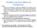 possible long term effects of emergencies
