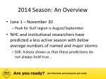 2014 season an overview
