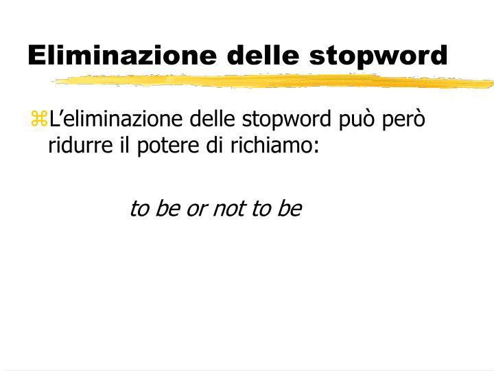 Eliminazione delle stopword