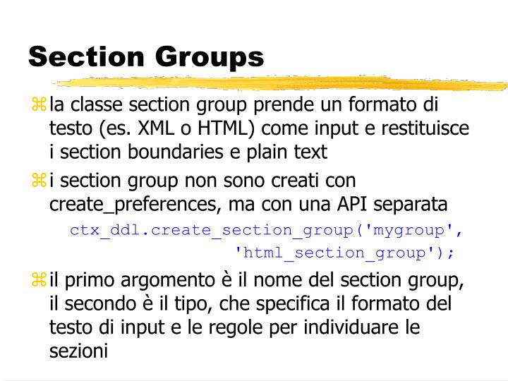 Section Groups