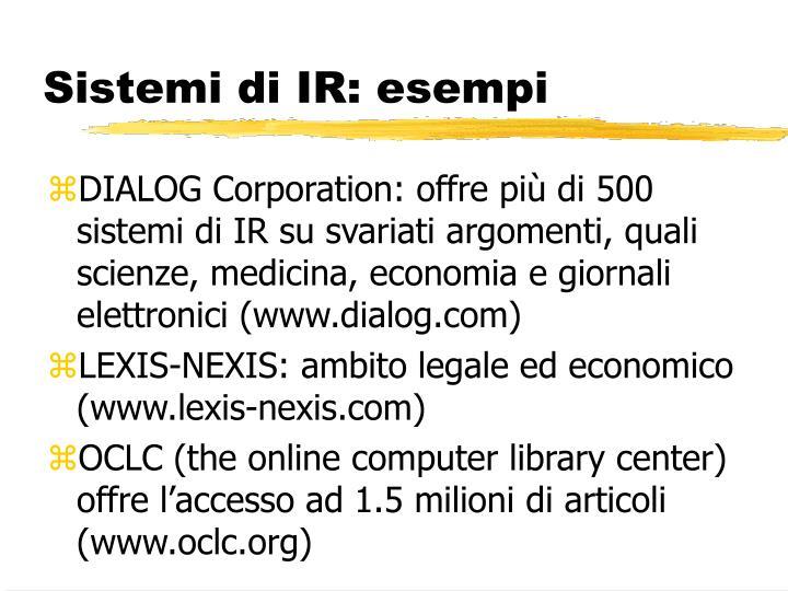 Sistemi di IR: esempi