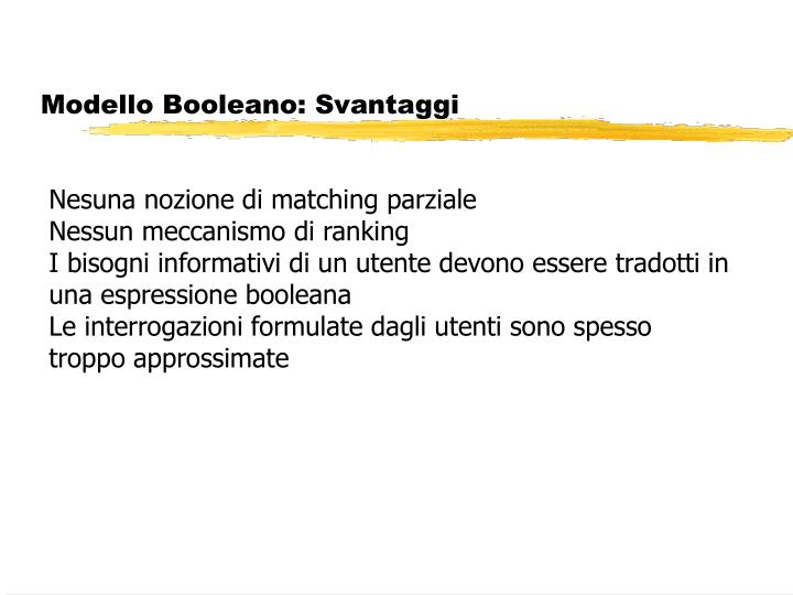 Modello Booleano: Svantaggi