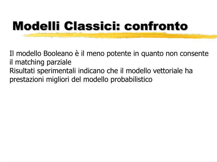 Modelli Classici: confronto