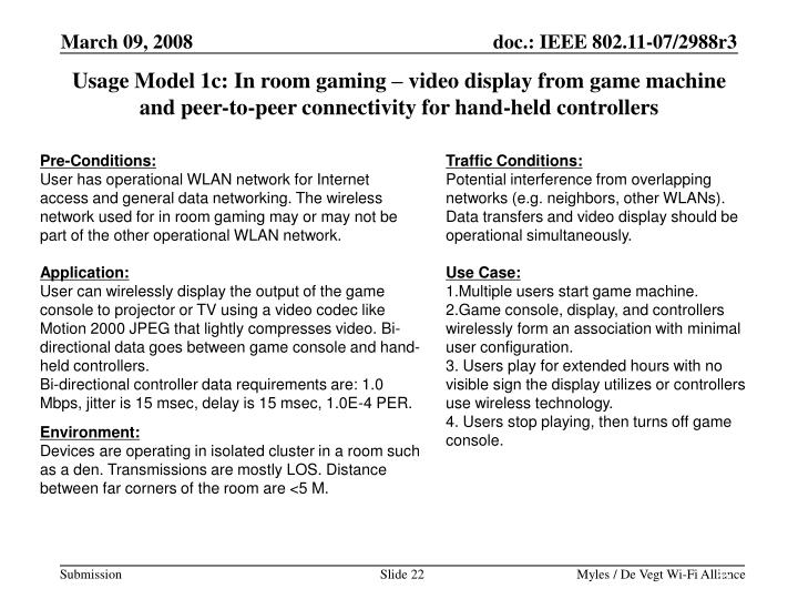 Usage Model 1c: In room gaming – video display from game machine and peer-to-peer connectivity for hand-held controllers