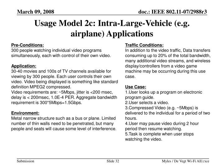 Usage Model 2c: Intra-Large-Vehicle (e.g. airplane) Applications