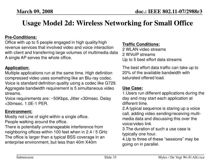 Usage Model 2d: Wireless Networking for Small Office