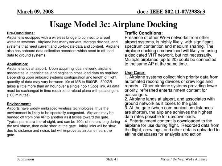 Usage Model 3c: Airplane Docking